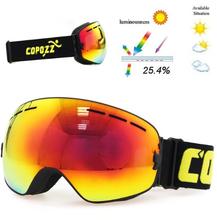 Copozz Lyžařské snowboard brýle s dvojitým sklem Copozz, Black-Orange glass