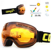 Copozz Lyžařské snowboard brýle s dvojitým sklem Copozz Brown