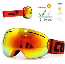 Copozz Lyžařské snowboard brýle s dvojitým sklem Copozz, Orange-light glass