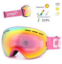 Copozz Lyžařské snowboard brýle s dvojitým sklem Copozz Pink