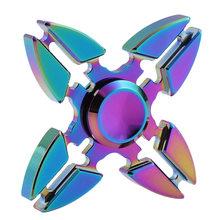 Fidget Spinner Kovový Fidget Spinner Icarus  Shuriken Four Rainbow