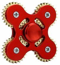 Fidget Spinner Kovový Fidget Spinner ozubené kola 5 kříž červený