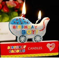 Happy Birthday Narozeninová svíčka Kočárek Boy 8x5,5cm
