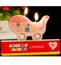 Happy Birthday Narozeninová svíčka Kočárek Girl 8x5,5cm