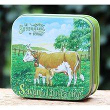 La savonnerie de Nyons Mýdlo v plechové krabičce Kráva a Tele 100g
