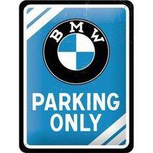 Nostalgic Art Plechová cedule – BMW Parking Only modrá