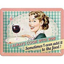 Nostalgic Art Plechová cedule – Cook With Wine