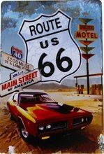 Nostalgic Art Plechová cedule - Route 66 Červené Auto