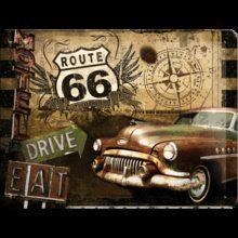 Nostalgic Art Plechová cedule - Route 66 /Drive,Eat/
