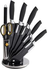 Royalty Line Royalty Line 8-dílná sada nožů, nůžek a ocílky RL-BLK8W  potažených antiadhezní vrstvou