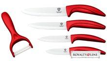 Royalty Line Sada 4 keramických nožů RL-C4 + škrabka červená