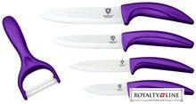 Royalty Line Sada 4 keramických nožů RL-C4 + škrabka  fialová