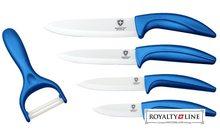 Royalty Line Sada 4 keramických nožů RL-C4 + škrabka modrá