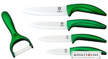 Royalty Line Sada 4 keramických nožů RL-C4 + škrabka zelená