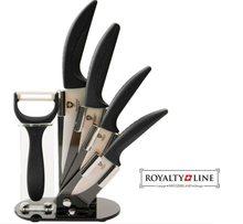 Royalty Line Sada 4 keramických nožů RL-C4ST se stojanem + škrabka  černá