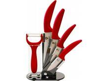 Royalty Line Sada 4 keramických nožů RL-C4ST se stojanem + škrabka  červená