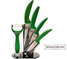 Royalty Line Sada 4 keramických nožů RL-C4ST se stojanem + škrabka zelené