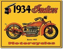 Retro Plechová cedule 1934 Indian Motorcycles