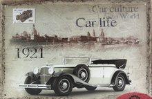 Retro Plechová cedule Car Culture Auto World 1921