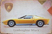Retro Plechová cedule Lamborghini Miura