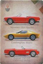 Retro Plechová cedule Maserati, Lamborghini, Ferrari