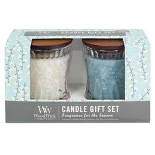 WoodWick Dárková sada WoodWick Bílý čaj a jasmín a Mořská sůl a bavlna, 2 x 136 g