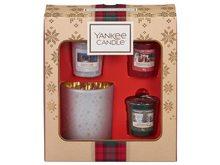 Yankee candle Dárková sada Christmas 3 KS votivních vonných svíček + svícen na votivní svíčky 2019