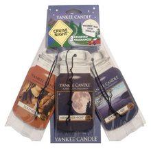 Yankee candle Osvěžovače do auta Yankee Candle Mix vůně - Letní noc/Noční vzduch/Kůže, 3x papírová visačka