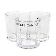 Yankee candle Svícen skleněný Yankee Candle Trojlístek, na 3 svíčky, čiré sklo
