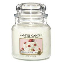 Yankee candle Svíčka ve skleněné dóze Yankee Candle Jahody se šlehačkou, 410 g