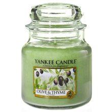 Yankee candle Svíčka ve skleněné dóze Yankee Candle Olivy a tymián, 410 g