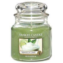 Yankee candle Svíčka ve skleněné dóze Yankee Candle Vanilka s limetkami, 410 g