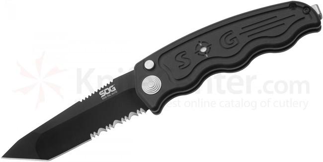 SOG Nůž Sog-TAC Automatic -Partially Serrated, Tanto, Black TiNi