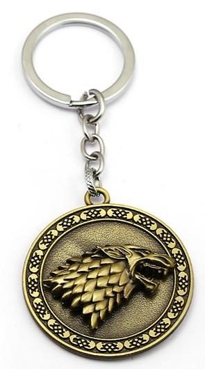 Game of Thrones Přívěsek na klíče Hra o trůny kulatý 2D otočný bronc Stark